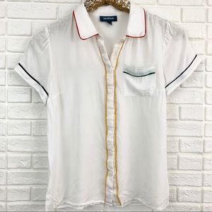 Modcloth rainbow trim white button down shirt